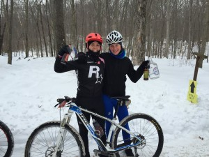 Women's podium (missing 3rd place) at MTBNJ Short Track #1